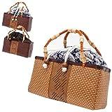 竹 籠 巾着 かご カゴ バッグ レクタングル 長方形 タイプ C 浴衣 夏 着物 祭り 素材