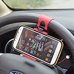 Universal Portable Steering Wheel Mobile Phone Holder / Mount / Clip / Buckle Socket Hands Free for All iPhones incl. Plus Series Samsung S3 S4 S5 S6 Etc with Max 5.5 Inch / 13.97 Cm Screen Size