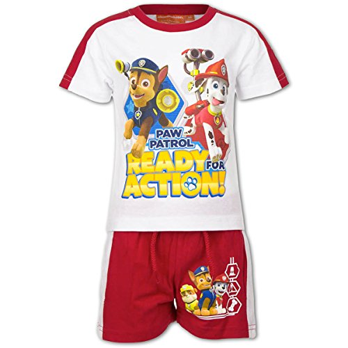 Paw Patrol - Set 2 pz Completo Coordinato T-Shirt e Pantaloncino - Bambino - Novità Prodotto Originale EP1493 [Bianco/Rosso - 5 anni - 110 cm]
