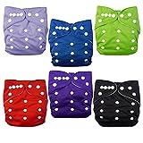 Alva baby cada paquete tiene 6pcs pañal y 2 inserciones ajustado pañal de tela (color para niños) 6BMN-ES