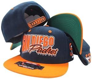 San Diego Padres Navy/Orange Fusion Angler Snapback Hat / Cap