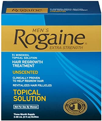 Rogaine for Men Hair Regrowth Treatment, Original Unscented, 2 Ounce (Pack of 3)
