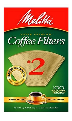 Melitta 622752 100 Count #2 Natural Brown Cone Coffee Filters