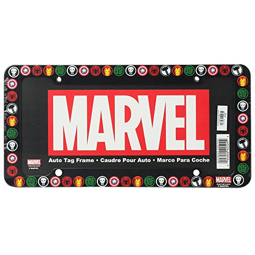 The Punisher Spider-Man Captain America Iron Man and The Incredible Hulk Logos Marvel Comics Auto Car Truck SUV Vehicle Universal-fit License Plate Frame - Plastic - SINGLE (License Plate Frame Marvel compare prices)