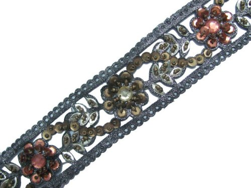 3 YARD GRAY CUT-WORK HAND BEADED TRIM SEQUIN STONE FLORAL RIBBON CRAFT SEWING BORDER