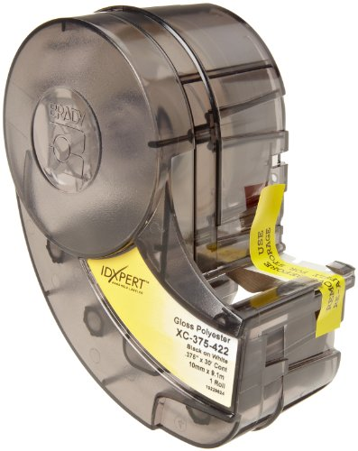 """Brady Xc-375-422 Idxpert 0.375"""" Height, 19"""" Width, B-422 Permanent Polyester, Black On White Color Label"""