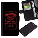 Stuss Case / Flip PU Leather Case - I Wanna Be Drunk Funny Message Whiskey - Sony Xperia Z3 Compact