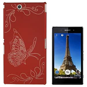 Carven Butterfly Pattern Plastic Protective Case for Sony Xperia Z Ultra / XL39H (Scarlet Red)