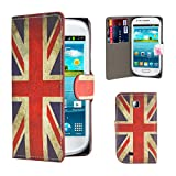 32nd® Design book wallet PU leather case cover for Samsung Galaxy Mini GT-S5570 + screen protector and cleaning cloth - Union Jack UK Flag