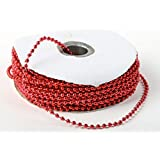 3mm Faux Pearl Plastic Beads on a String Craft Roll Metallic RED