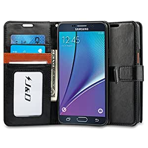 Galaxy Note 5 Case, J&D [Stand View] Samsung Galaxy Note 5 Wallet Case [Slim Fit] [Stand Feature] Premium Protective Case Wallet Leather Case for Samsung Galaxy Note 5 (Black Brown)