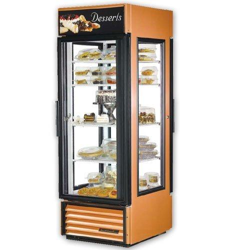 Black True G4SM-23PT Pass Thru 4 Sided Glass Door Refrigerator Merchandiser with Front Sign - 23 Cu.