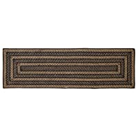 Country Style Black Tan Jute Rug/Runner Rect 22x72