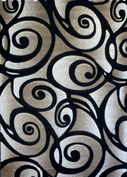 Modern Area Rug Sculpture Design#S 241 Black (5ft2in.x7ft3in.)