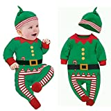 Fheaven Baby Clothes Outfits Boy Girl Kids Romper Hat Cap Set Christmas Gift for 0-24M (size:90(Age: 12-18Months), Green)