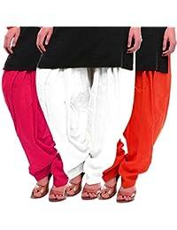Women's Rani White-Orange Cotton Patiala Salwar