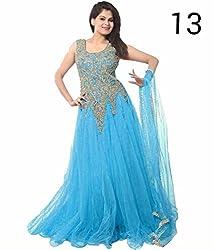 shubham creation women's blue JARI GOWN SOFT NET dress material