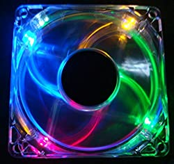 Autolizer Sleeve Bearing 80mm Silent Cooling Fan for Computer PC Cases - High Airflow, Quite, and Transparent Clear (Multi-Color RGB Quad 4-LEDs) -
