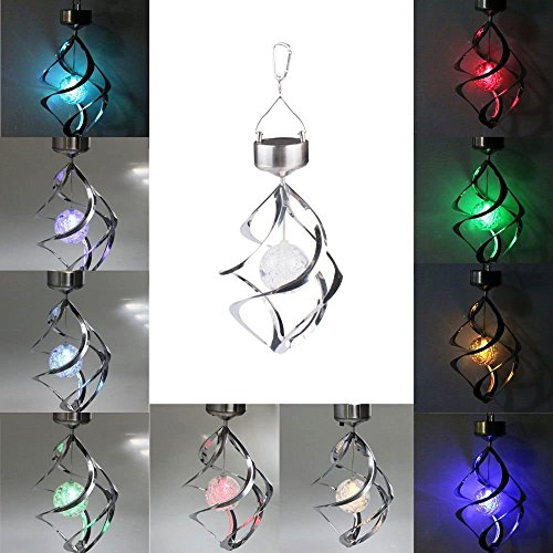 Lightahead® Portable Outdoor Decorative Light Solar Powered RGB Colour Changing LED Hanging Wind Chime Crack Ball Spiral Spinner Light Lamp For Garden Lawn Balcony Porch Yard Décor