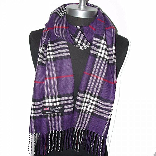 Purple_NEW Scarf SCOTLAND WOOL Big Check Loop Plaid Unisex - SM02 (US Seller) (Serta Dog Bed Replacement Cover compare prices)