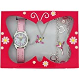 New Ravel Angel Little Gemz Jewellery Set Children's Quartz Watch with White Dial Analogue Display and Pink Plastic or PU Strap R2221