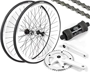 EighthInch Deluxe Fixed Gear Single Speed Conversion Kit: White