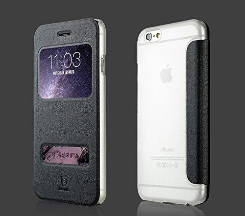 正規品BaseusiPhone6 Plus/6s Plus 本革調マイルケース ダブルウインドウ 閉じたままロック解除、通話可能! (ブラック)