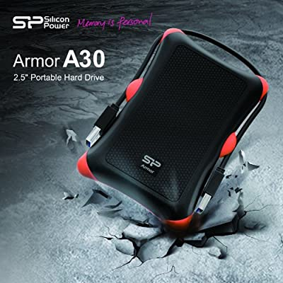 Silicon Power 1TB Rugged Armor A30 Military Shockproof Standard 2.5-Inch USB 3.0 External Portable Hard Drive - Black (SP010TBPHDA30S3K)