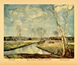 1936 Print Smaland Sweden April Spring Landscape White Birch Trees Carlberg Art - Original Color Print