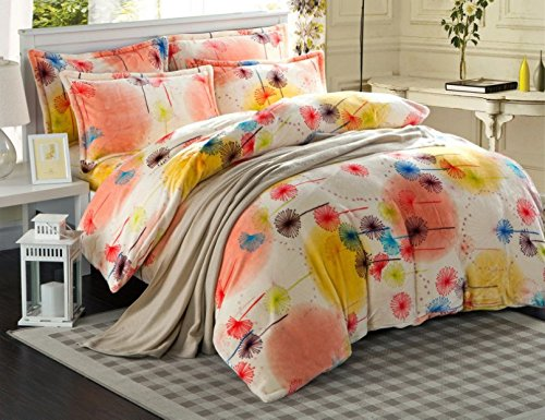 Melife® 3 Pieces Reactive Printing Colorful Dandelion Pattern Bedding Set Duvet Cover Sheet Pillow Case Bed-Linen front-976937