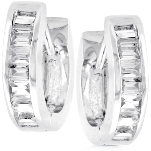 White Gold Bonded Rhodium Bonded Hoop Huggie Earrings Channel Set