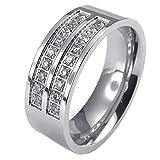 KONOV ジュエリー ファッション アクセサリー メンズ リング 指輪, クラシック, ジルコニア ダイヤ, ステンレス, カラー:シルバー(銀);[ギフトバッグを提供] - [14号]