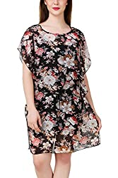 Fasense Women Graphic Floral Printed Short Dress with Spaghetti, DR009 (Medium)