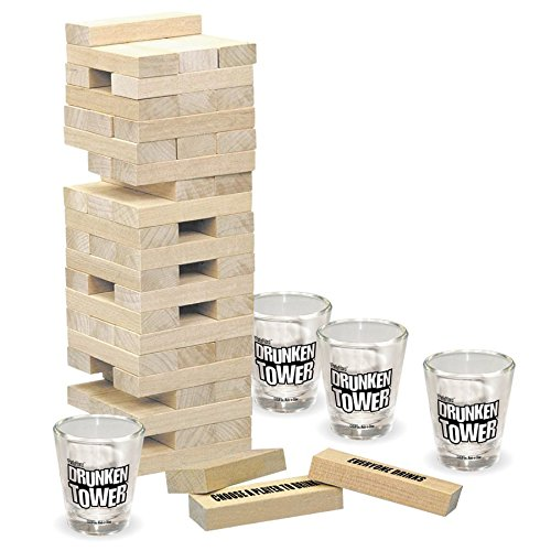 ICUP The Grab A Piece Drinking Game Drunken Tower, Wood