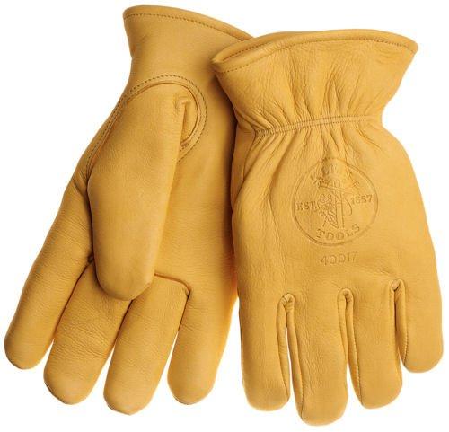 Klein Tools 40017 Deerskin Work Gloves, Lined, Large