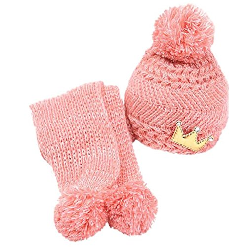 Baby Hood Scarf, Misaky Winter Baby Kids Girls Boys Warm Woolen Coif Caps Hats (Pink)