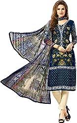 Sanvan Blue Printed Soft Cotton Unstitched Suit