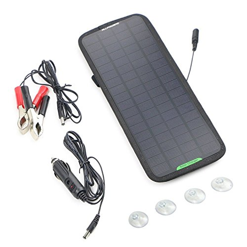 Mannot Racing - ALLPOWERS 18V 5W Portable Solar Car Battery Charger Bundle with Cigarette Lighter Plug, Battery Charging Clip Line, Suction Cups & Manual TFP0004 (Flamethrower Kit Dual Exhaust compare prices)