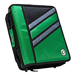 Case-it Z-Binder Two-in-One 1.5-Inch D-Ring Zipper Binders, Green, Z-176-GRE