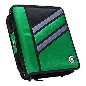 Case-it Z-Binder Two-in-One 1.5-Inch D-Ring Zipper Binder, Green, Z-176-GRE