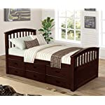 Merax. Twin Size Platform Storage Bed Solid Wood Bed with 6 Drawers (Natural) (Espresso)