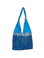 Womaniya Canvas Blue Handbag For Women(Size-32 Cm X 32 Cm X 10 Cm) - B00SJ1JY6S