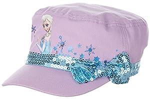 Frozen Elsa Girls Purple Sequin Cadet Cap Hat