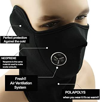 1 Custom Windproof Black Neoprene Half Face Mask Facemask Neck Wear Warmer Vent Winter Outdoor Sport