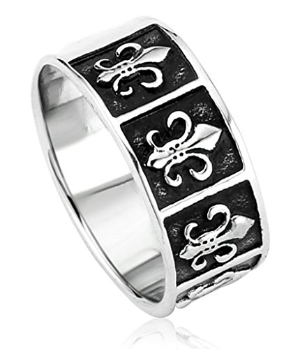 Anazoz Stainless Steel Ring Us Size 7 Fleur De Lis Cross Popular Men