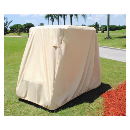 KHOMO Golf Cart Cover - 2 Passenger UNIVERSAL Storage Cover with Air Vents, Zipper and Elastic Hem