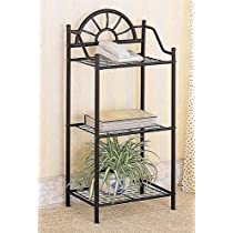 Coaster Garden Plant / Phone Stand Corner Table, Black Wrought Iron