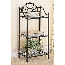 Coaster Garden Plant / Phone Stand Corner Table, Black Wrought Iron