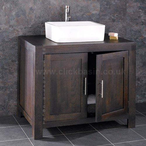 Simple Clickbasin Alta Solid Wenge Oak cm Wide Double Door Bathroom Vanity Unit