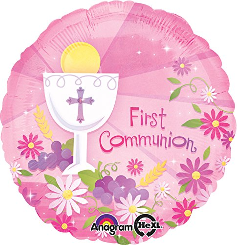 "Anagram International First Communion Flat Balloon, 18"", Pink"